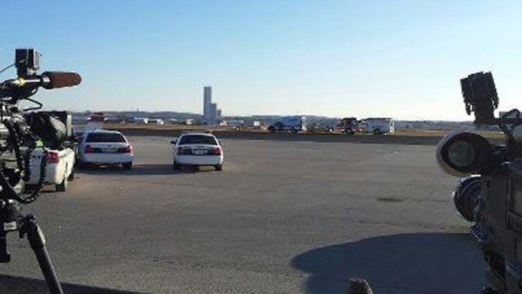 Small Airplane Flips Over At Tulsa's Jones Riverside Airport