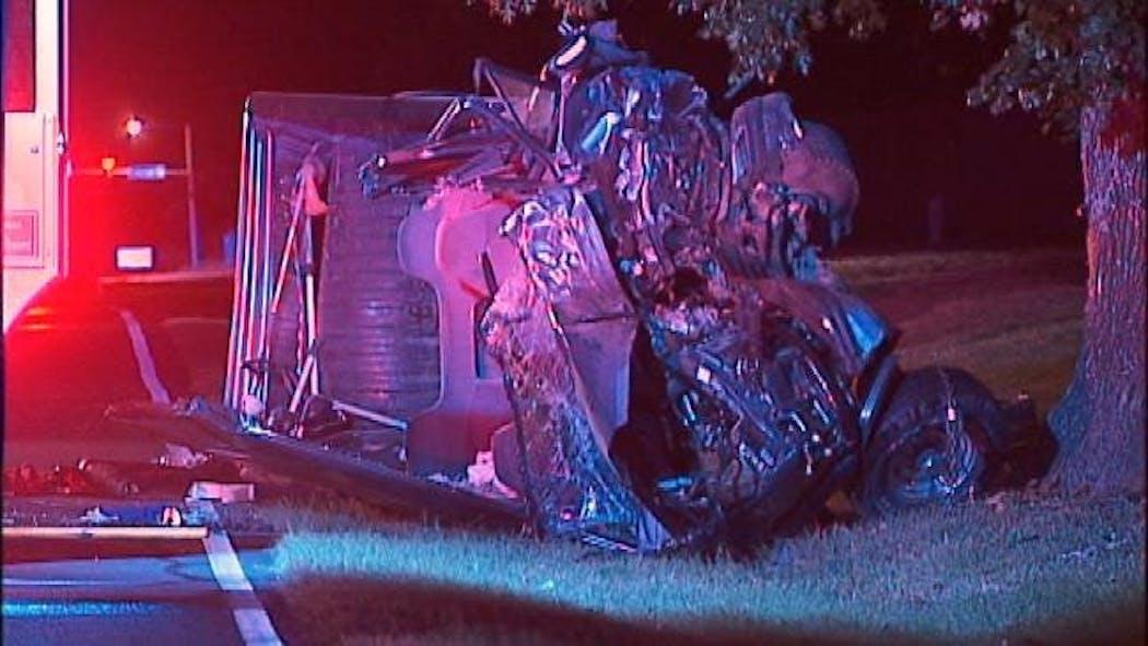 Pickup Truck Destroyed, Driver Injured After Hitting Tree In SE Tulsa