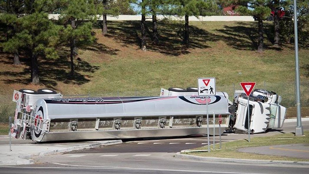 Hundreds of Gallons Of Fuel Leaked In Jenks Tanker Truck Rollover
