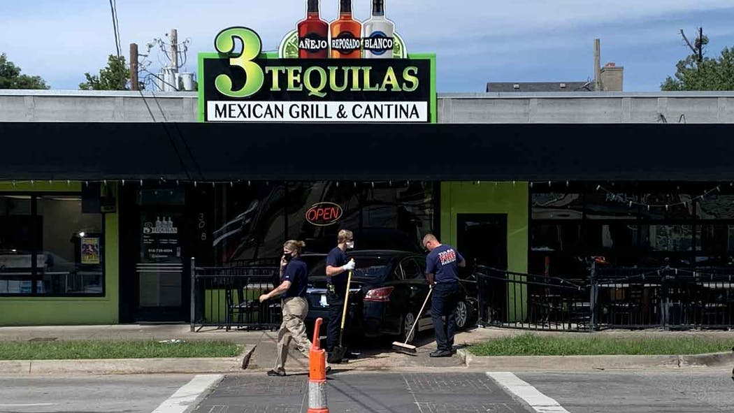 Car hits 3Tequilas building.