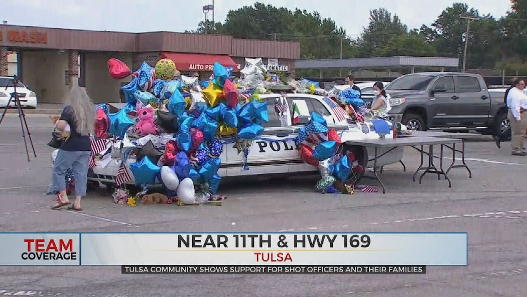 TPD car covered in cards, show of support.