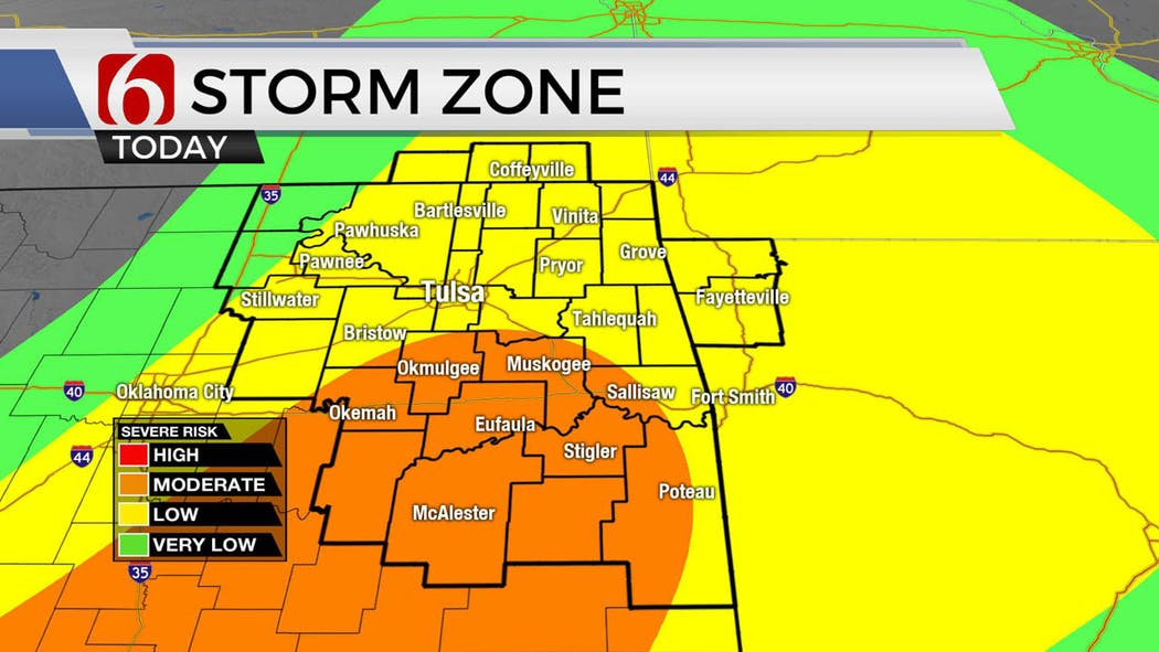 Severe weather risk for Friday, May 22.