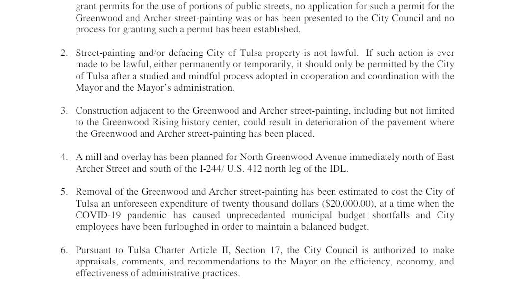 Council Recommendation BLM Painting