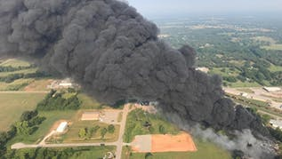 Emergency Crews Battle Fire At Tire Recycling Plant In Bristow