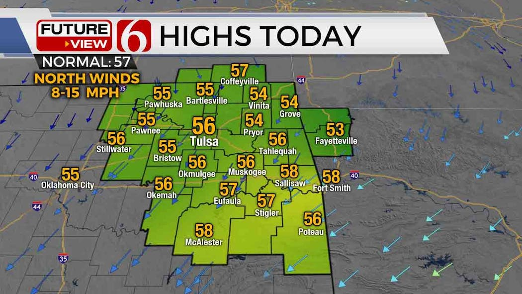 High temperatures for Monday Mar. 1, 2021.