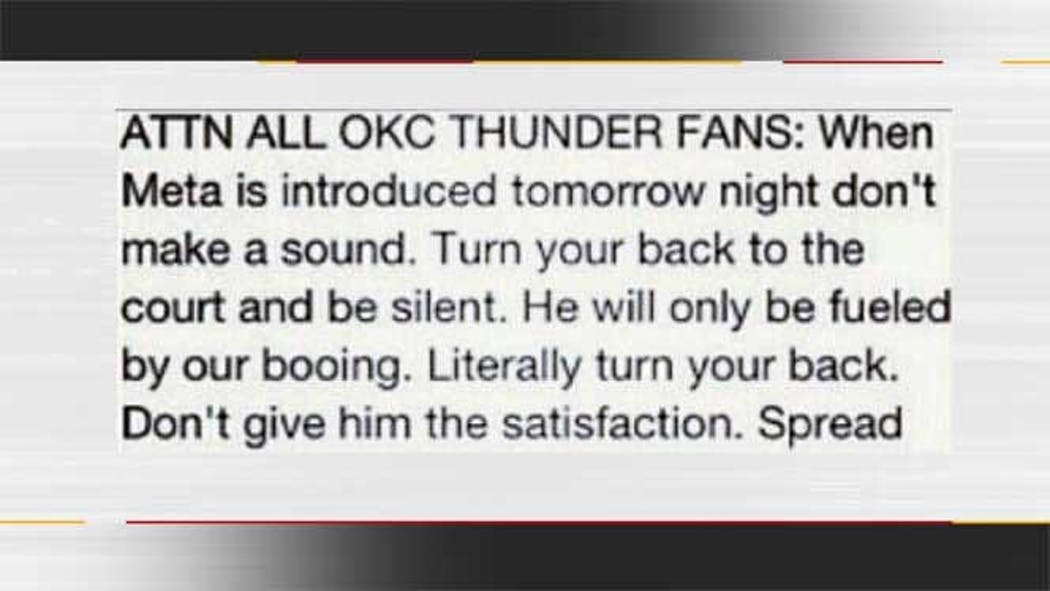 Thunder Fans Turn Their Backs On Metta World Peace