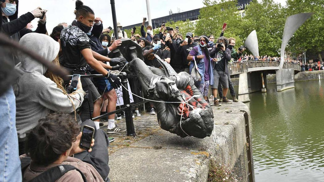 Edward Colston statue toppled in England