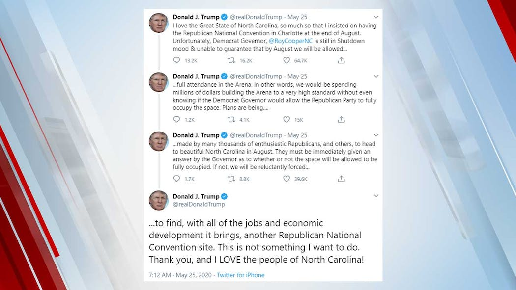 President Trump's tweets about RNC in NC