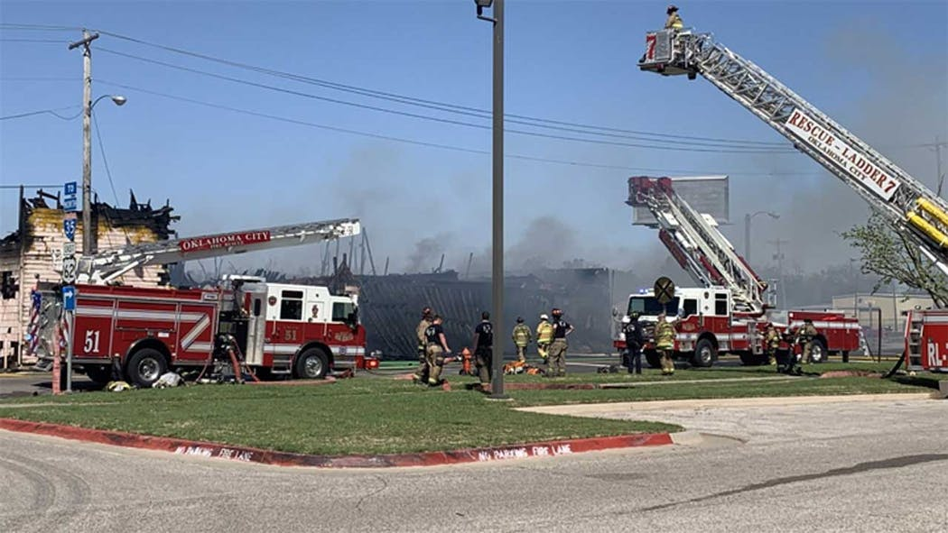 OKC Fire Near Douglass 4-11 Burnt