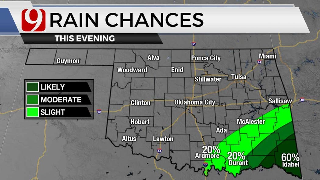 Rain chances for evening for 8-17-21