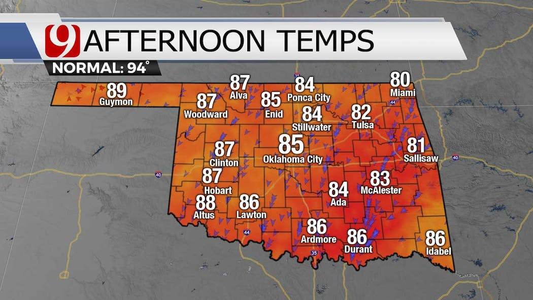 Afternoon highs for 8-2-21