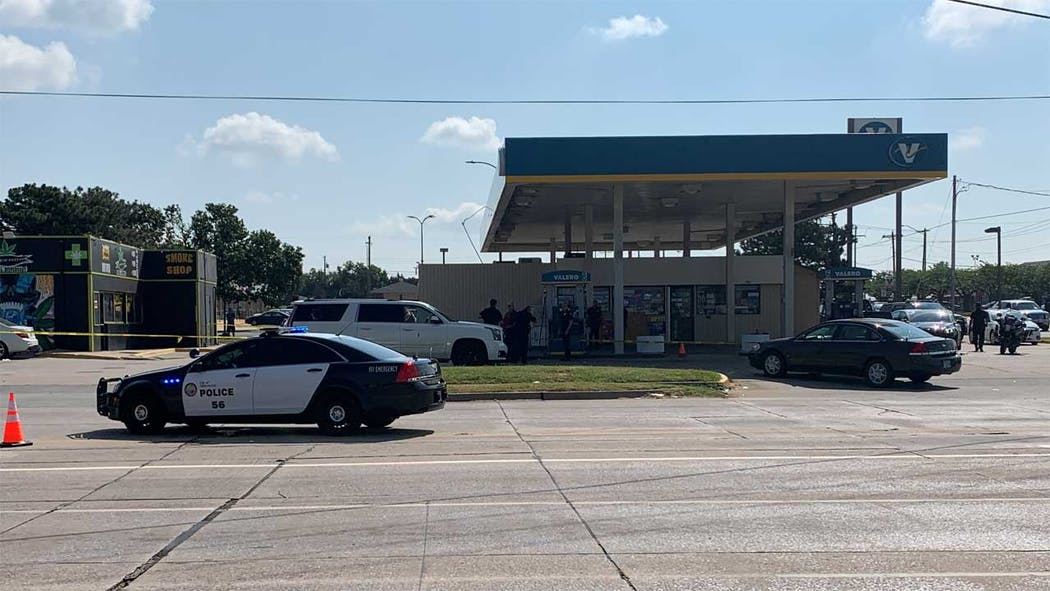 Officer-involved shooting scene at Midwest City on 8-27-21