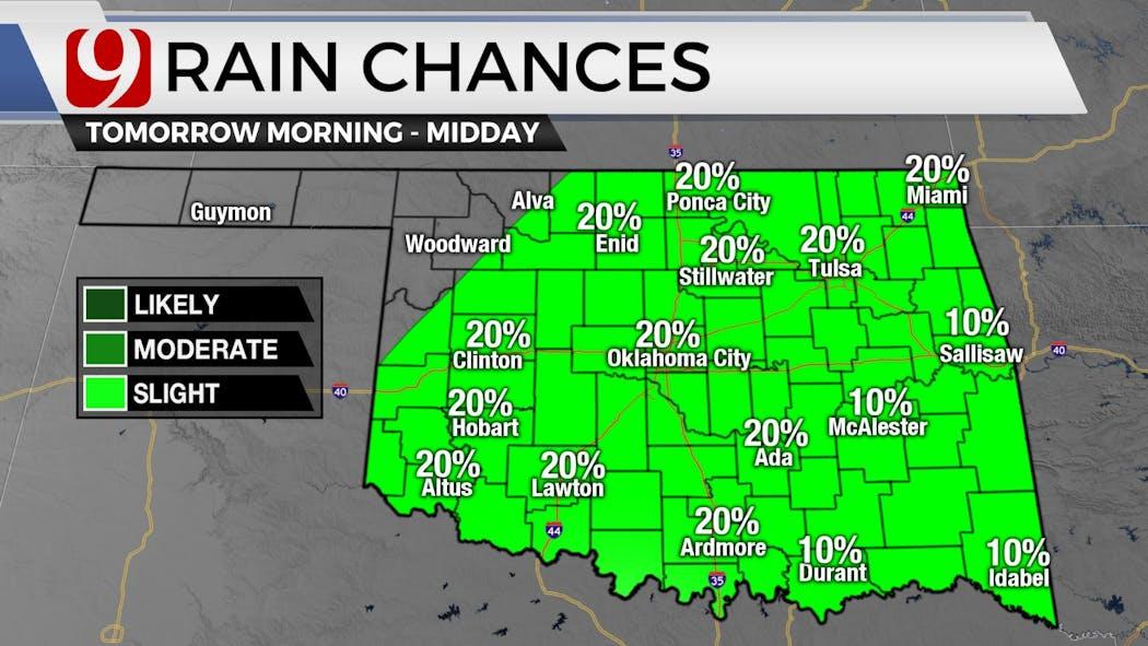 Thursday morning Rain Chances