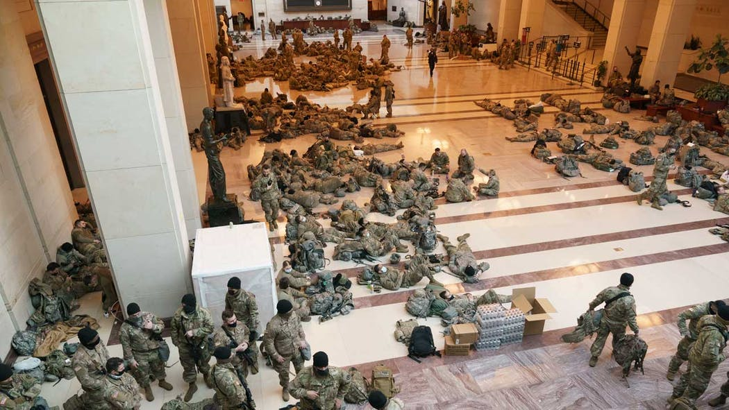 National Guard troops in Capitol on 1/13