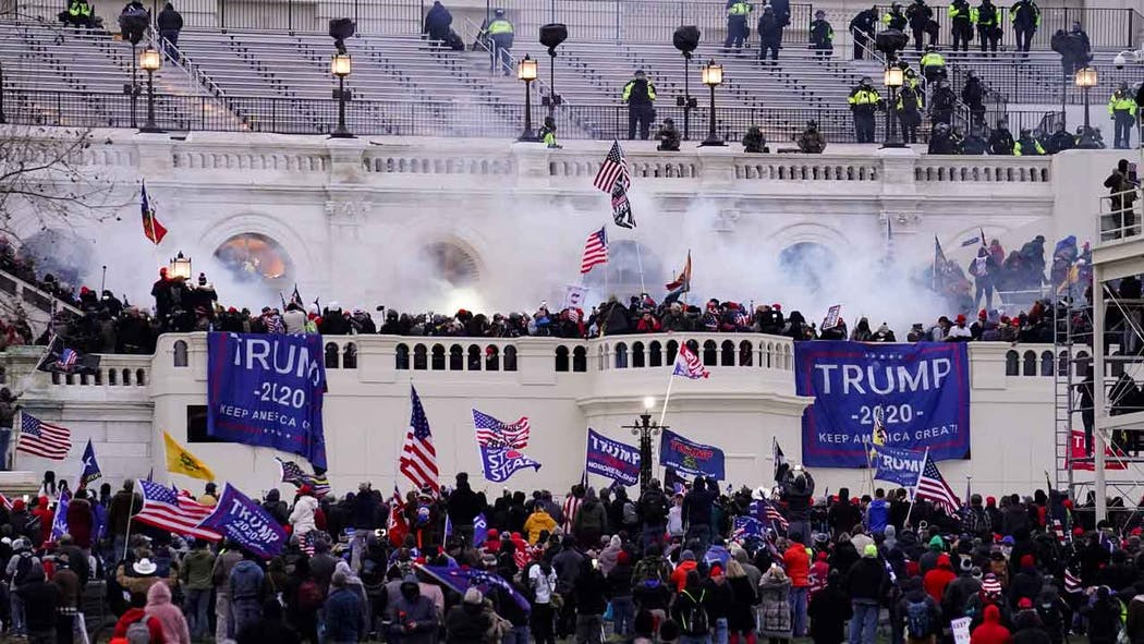 Violent protesters, loyal to President Donald Trump, storm the