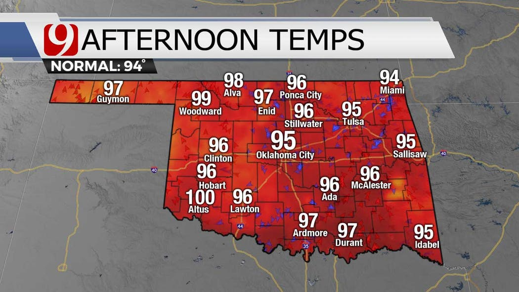 Afternoon temps for 7-26-21
