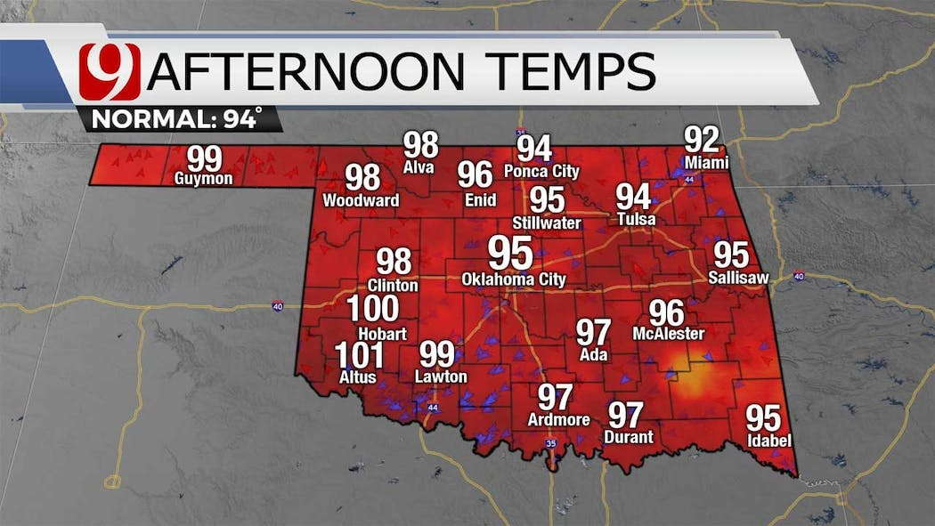 Afternoon temps for 7-27-21