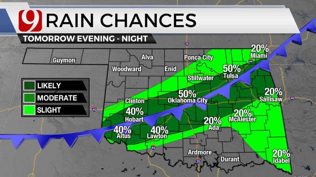 rain chances Wednesday night on 7-6-21
