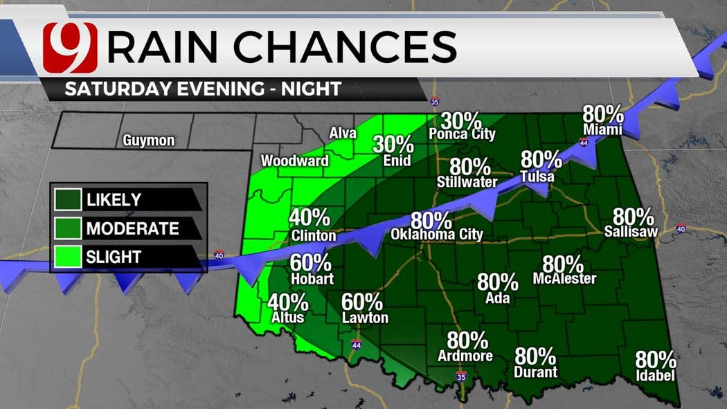 Rain chances for Saturday evening 7-8-21