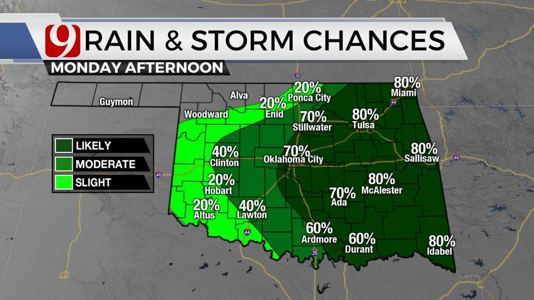 rain chances this afternoon for 6-21-12