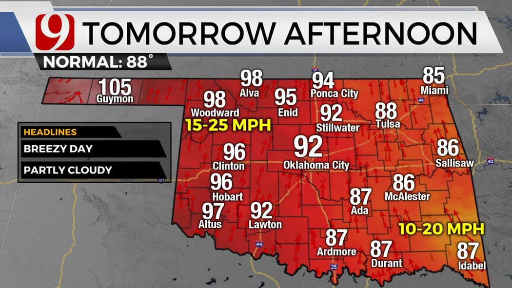highs for Wednesday for 6-22-21