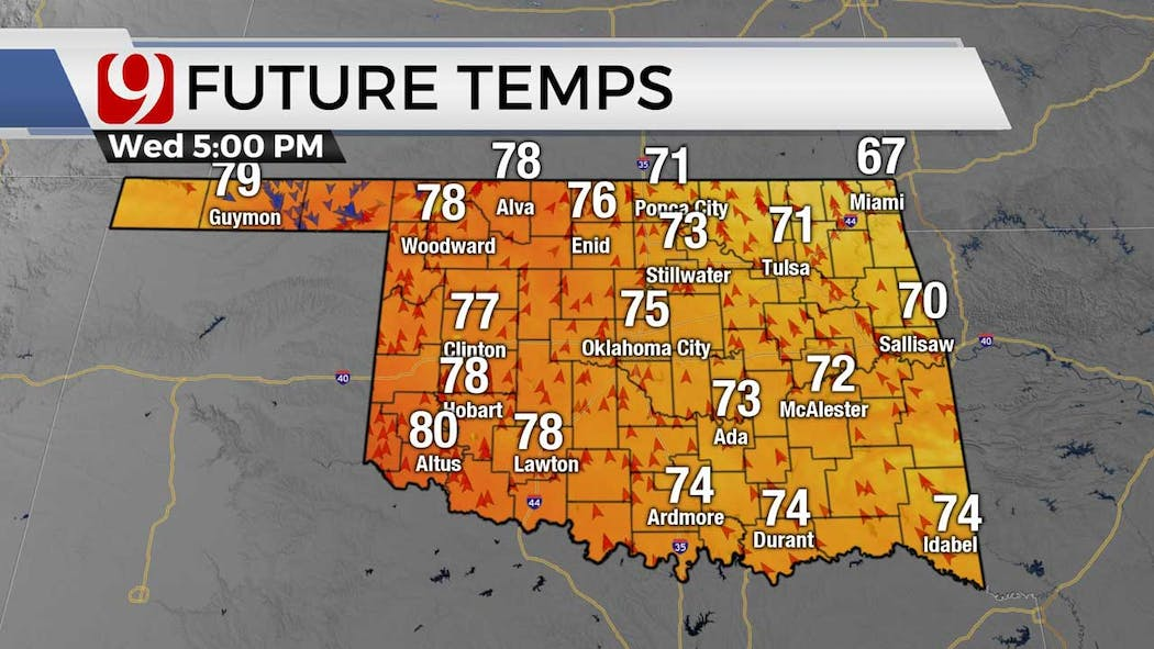 Afternoon temps for 5-5-21