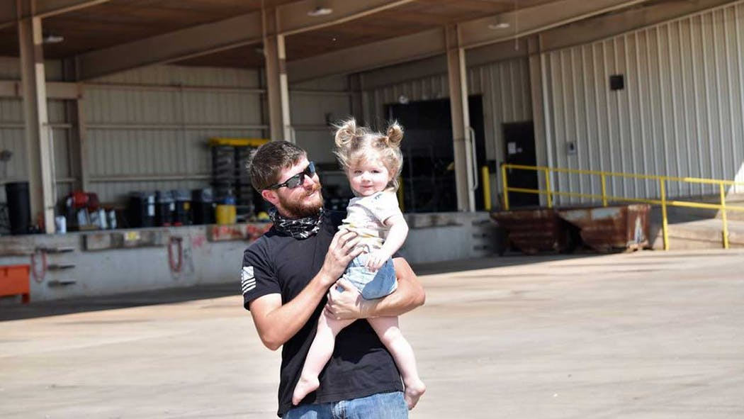 An OG&E lineman returns home to his family safely after assist